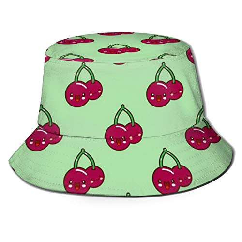 Funny Red Cherry Face Unisex Cool Bucket Hat Fisherman Cap Sun Hat