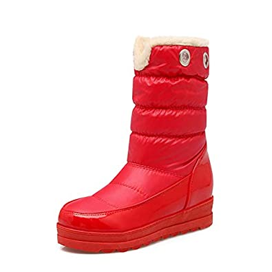 Womens Large Size Waterproof Snow Boots Black Red White Blue Winter Fur Plush Keep Warm Boots