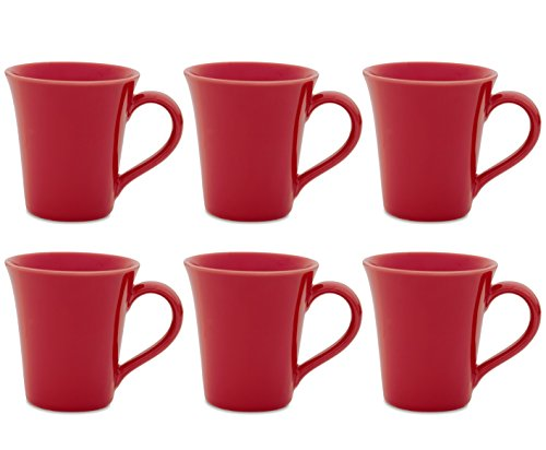 Oxford Daily Tulip Mugs- Set of 6 (Red)