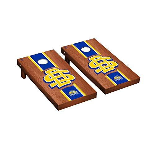 (Victory Tailgate Regulation Collegiate NCAA Rosewood Stained Stripe Series Cornhole Board Set - 2 Boards, 8 Bags - South Dakota State University Jackrabbits Logo)