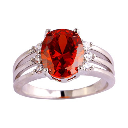 Psiroy 925 Sterling Silver Oval Shaped Created Garnet Filled Anniversary (Wholesale Sterling Silver Engraving)