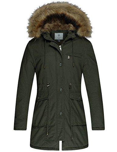 WenVen Women's Winter Warm Hooded Jacket Fleece Cotton Military Coat(Army ()