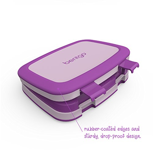 Bentgo Kids Childrens Lunch Box - Bento-Styled Lunch Solution Offers Durable, Leak-Proof, On-the-Go Meal and Snack Packing (Purple) by Bentgo (Image #2)