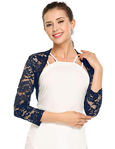 (Grabsa Women's 3 4 Sleeve Lace Shrugs Bolero Cardigan Crochet Sheer Crop Jacket Navy Blue)