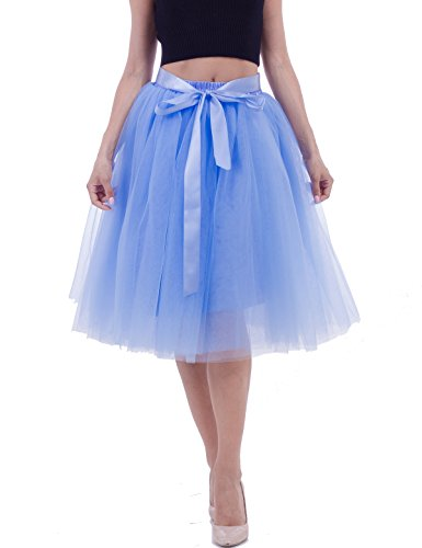 Women's Solid A Line Midi/Knee Length Tutu Skirt 6 Layered Pleated Tulle Petticoat Dance Tutu(Lake blue) ()