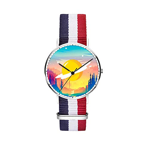 Unique Wrist Watch, Unknown Planet Personalized Oxford Creative Multicolor Watch Strap Modern Watch,Unisex Minimalist Stainless Steel Ultra Thin Stripe Fashion Watches for Women 36mm