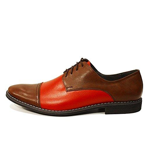 Elia Cuir Cuir des pour Italiennes Vachette Rouge Chaussures Lacer Oxfords Souple de Cuir Handmade Hommes Modello 4qwadOnO