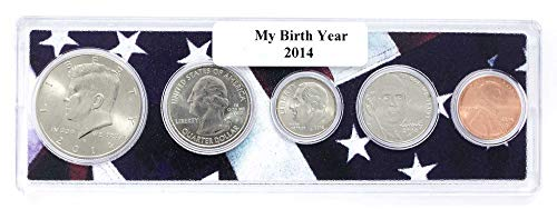 2014-5 Coin Birth Year Set in American Flag Holder - Coin Set Holder
