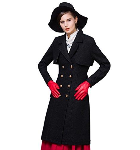 Longue Pardessus Femmes Windbreaker Boutonnage Élégante Double Taille Ceinture Coat De Noir Baymate Trench zPvxx