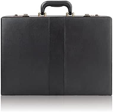 Solo Premium Leather-like Attaché, Hard-sided with Combination Locks, Black, K85