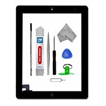 IPAD 2 BLACK Digitizer Touch Screen Front Display Glass Assembly - Includes Home Button and flex + Camera Holder + Pre Installed Adhesive Stickers and Professional Tool kit for easy installation now also incl. Bezel Frame