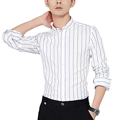 Plaid&Plain Men's Oxford Button Down Shirts Pinstripe Shirt Slim Fit Dress Shirts White L ()
