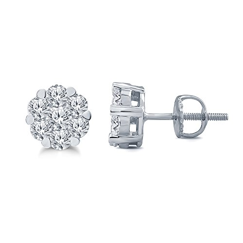 La Joya 1/4ct Round White Diamond 10K White Gold Cluster Flower Stud Ear Lobe Fashion Diamond Earring for Womens ()