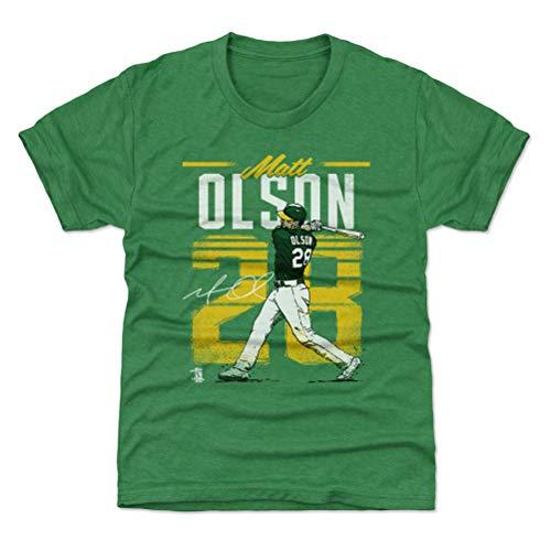 500 LEVEL Oakland Baseball Youth Shirt - Kids X-Small (4-5Y) Heather Kelly Green - Matt Olson Retro Y WHT
