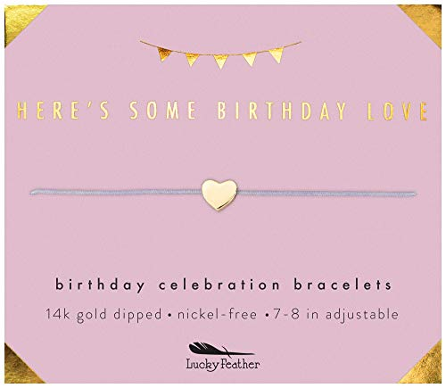 Lucky Feather Happy Birthday Gifts for Women and Girls - 14K Gold Dipped Love Heart Bracelet for Girls on Adjustable 7- 8 Cord