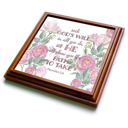 Gods Will Tile (3dRose Uta Naumann Sayings and Typography - Watercolor Pink Roses and Bible Typography - Seek Gods Will in All - 8x8 Trivet with 6x6 ceramic tile (trv_289877_1))