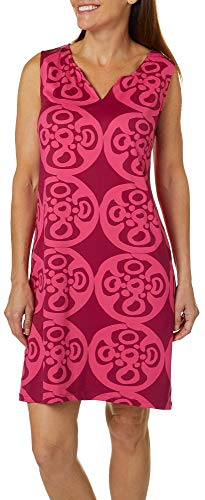Sunsets and Sweet Tea Womens Medallion Notch Neck Dress Small Pink