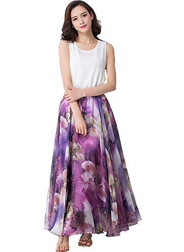 Purple Jupe Medeshe Floral Trapze Femme tvtYqR