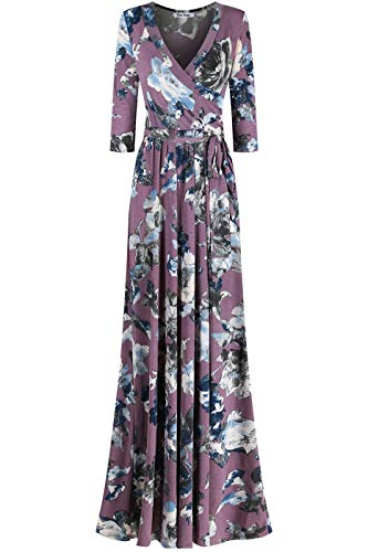 (Bon Rosy Women's #MadeInUSA 3/4 Sleeve V-Neck Printed Maxi Faux Wrap Floral Dress Summer Wedding Guest Party Bridal Baby Shower Maternity Nursing Lavender)