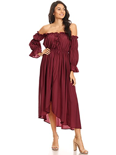 (Anna-Kaci Womens Casual Boho Long Sleeve Off Shoulder Renaissance Peasant Dress, Rose Red,)