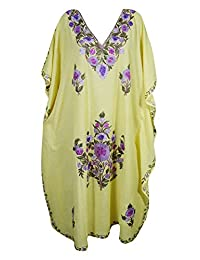 Mogul Womens Yellow Kaftan Ari Embroidery Kashmiri Cover Up Caftan Dress