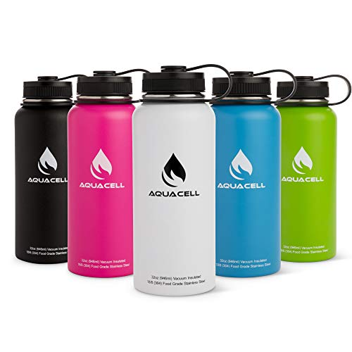 Aqua Cell 32 oz Vacuum Insulated Sports Water Bottle, Stainless Steel, with Screw Top - Double Wall Thermos for Outdoor Activities, Working Out, Travel, Gym - BPA Free, Leak and Sweat Proof Bottles