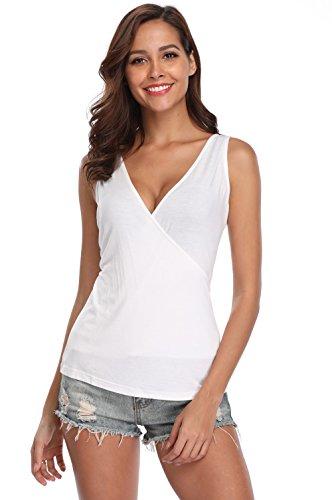 MISS MOLY Women's Sexy V Neck Sleeveless Crossover Slim Knit Tops Shirt (Medium(US-10), Beige ()
