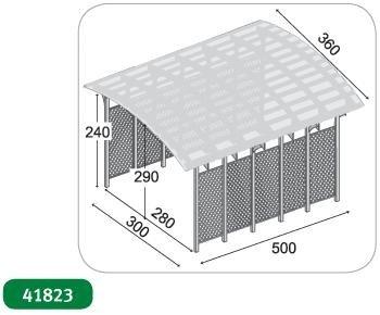 Conwy - Cochera individual con techo de PVC ondulado. Dimensiones: altura 290 cm x 500 de ancho y 280 cm de largo: Amazon.es: Jardín