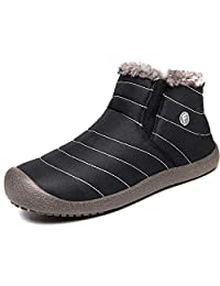 Eagsouni Women Men Anti-Slip Waterproof Ankle Snow Boots Fully Fur Lined Winter Outdoor Booties Sneakers