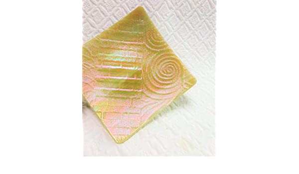 Soap Dish Yellow and Pink Zentangle Textured Fused Glass Plate