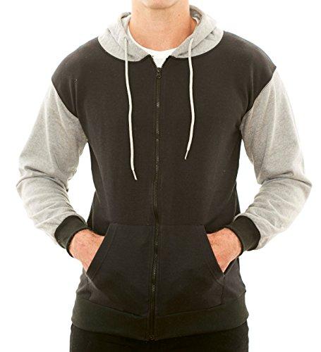 Black New York Hooded Sweatshirt - New York Avenue Men's Full-Zip Hoodies -Soft Cotton Comfort Fleece Hooded Sweatshirts by NY Ave (Large, Black/Grey)