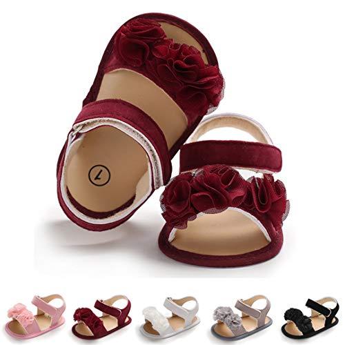 Lafegen Baby Girls Summer Sandals PU Leather Soft Non-Slip Sole Toddler Crib First Walker Shoes(11cm,0-6months,A-Wine Red