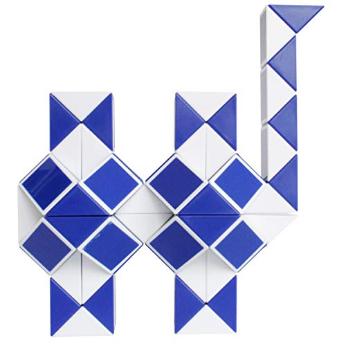 Mipartebo Magic Snake Ruler Cube Puzzles 72 Wedges Brain Teaser Twist Toys White and Blue