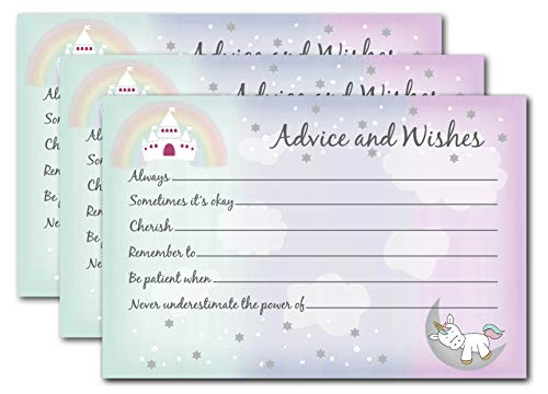 Unicorn Baby Shower Games for Girls - 50 Advice Cards for Mommy with Rainbow Princess Castle - Guest Book Alternative Ideas for Well Wishes and Predictions - Pink Party Supplies and Decorations -