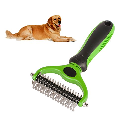 Hilou Pet Pet Grooming Tool 2 Sided Undercoat Rake for Dogs Safe Dematting Comb for Easy Mats Tangles Removing by Hilou Pet