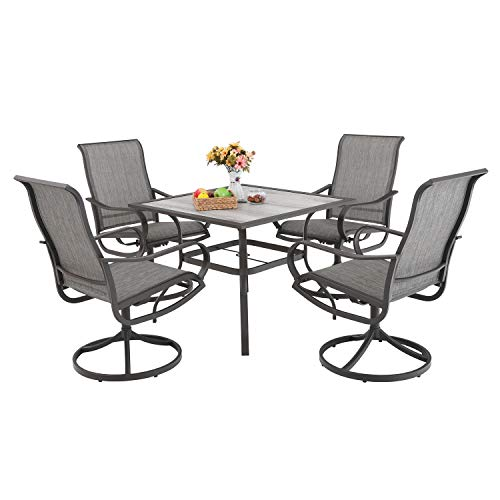 PHI VILLA Patio Dinning Set 5 PCs Outdoor Dinning Table Set Outdoor Kitchen Garden Furniture with 4 Swivel Chair & 1 Umbrella Dinning Table