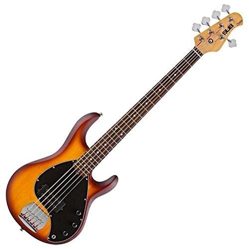 Sterling by Music Man S.U.B. Series Ray5 StingRay Bass, 5-String, Honey Burst Satin