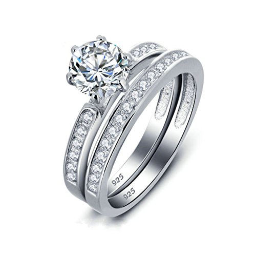 925 Sterling Silver Ring, Women's Wedding Bands Silver Round Cubic Zirconia CZ 2Pcs Halo Size 6 Epinki