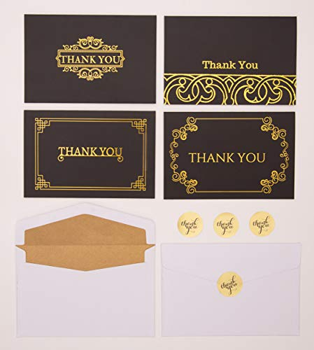 (100 Pack of Bulk Thank You Cards-Blank thank You Notes with Gold Lined Envelopes and Sealing Stickers-Black and Gold Foil Designs-Ideal for Weddings, Business, Graduation, any Occasion of Gratitude )