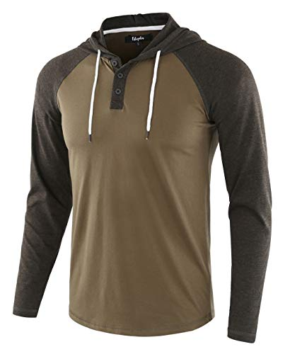 Estepoba Mens Casual Athletic Fit Lightweight Active Sports Jersey Shirt Hoodie Army/H.Charcoal M