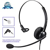 Yealink Telephone Headset RJ9 with Noise Cancelling Microphone Plus Extra 3.5mm Connectors for Mobiles Compatible with Grandstream Snom Panasonic Jabra