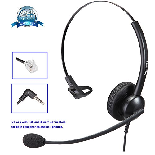 Call Center Telephone RJ9 Headset Mono with Noise Cancell...