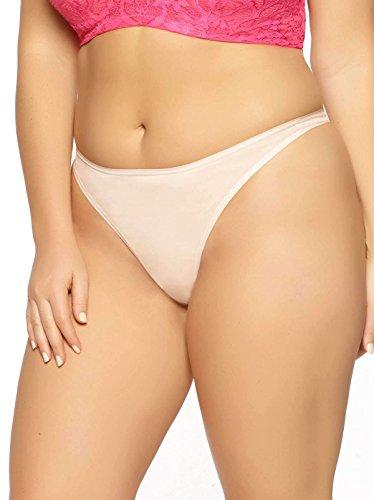 Paramour Women's Allie Organic Cotton Thong Panty, Sugar Baby, XL