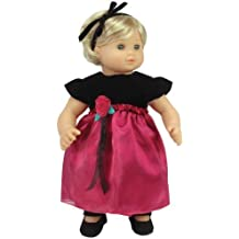 15 Inch Baby Doll Dress & Headband Set by Sophia's, Baby Doll Clothing Fits 15 Inch American Girl Bitty Baby Dolls & More! Black & Berry Holiday Dress & Headband | Gift Bag Included