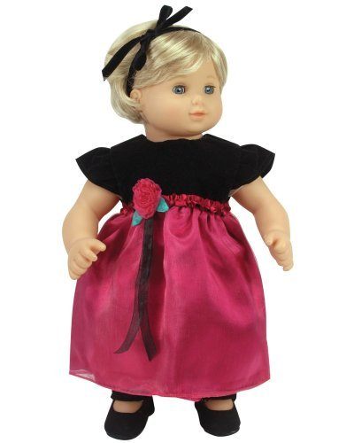 Sophia's 15 Inch Baby Doll Dress & Headband Set, Baby Doll Clothing Fits 15 Inch American Girl Bitty Baby Dolls & More! Black & Berry Holiday Dress & Headband | - Satin Tessa
