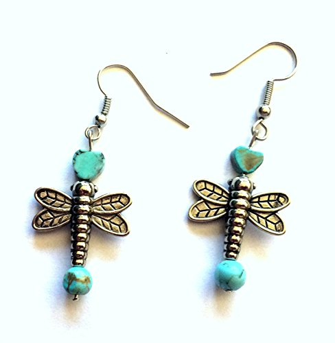 Dragonfly Earrings with Turquoise ()