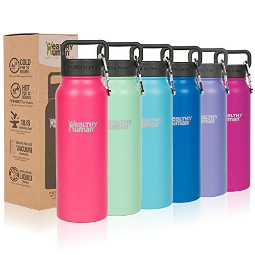 Peel Accessorize - Healthy Human Classic Collection Insulated Stainless Steel Water Bottle Stein - Cold 12 Hours/Hot 6 Hours - Double Walled Vacuum Flask - 16 oz Hawaiian Pink