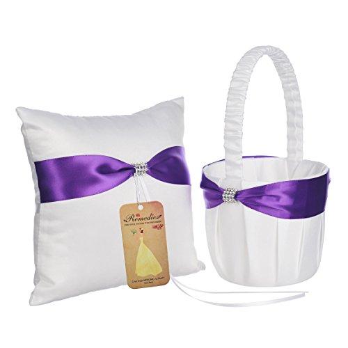 Topwedding Purple Bow White Satin Wedding Ring Bearer Pillow Flower Girl Basket Set -