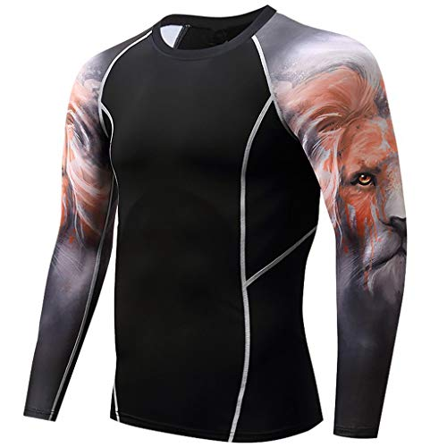 POQOQ Fitness Casual Blouse Men's Lion Print Long Sleeve Yoga T-Shirt Sport -