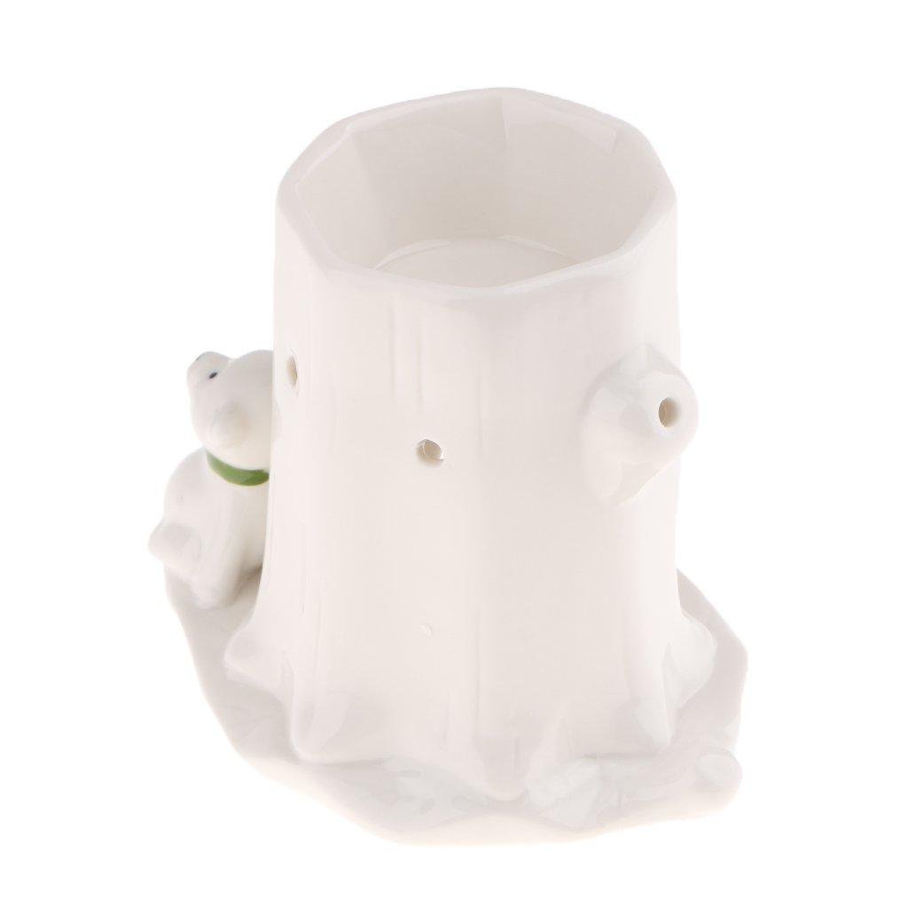 Fityle Retro Animal Ceramic Tabletop Candle Holder Tealight Holder Incense Burner - Bear